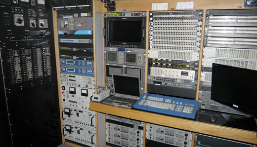 The rear audio visual rack inside the Reno Video satellite and production Truck